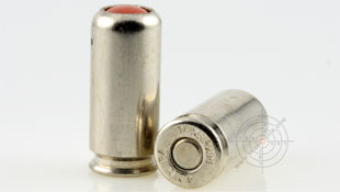Russian less-lethal ammunition TEHKRIM 9 mm P.A. with rubber bullets.
