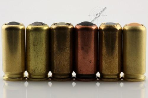 03. Пистолетные травматические патроны калибра 9 мм. P.A. – «АЕ9», «МАС», «ПНД-9П», «ФОРТ-Т», «ТЕРЕН-3Ф» и «ТЕРЕН-3ФП», вид с боку.